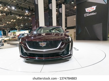 New York, NY - April 18, 2019: Cadillac CT5 on display at Cadillac Company stand at 2019 New York International Auto Show at Jacob Javits Center
