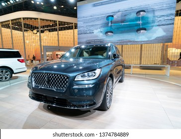New York, NY - April 18, 2019: Lincoln Corsair SUV on display at Lincoln Company stand at 2019 New York International Auto Show at Jacob Javits Center