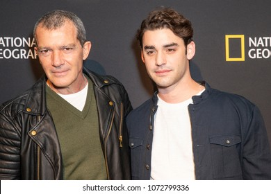 New York, NY - April 19, 2018: Antonio Banderas & Alex Rich attend National Geographic unveils installation Genius: Picasso Studio on 100 6th avenue in Manhattan