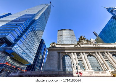 New York, NY - April 19, 2020: Grand Central Terminal  and One Vanderbilt under construction in New York City.