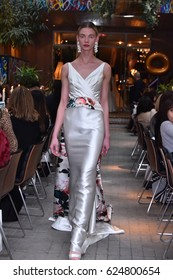 NEW YORK, NY - APRIL 19: A model walks the runway at the Sachin & Babi Spring/Summer Bridal 2018 show at Nomo Hotel on April 19, 2017 in New York City.