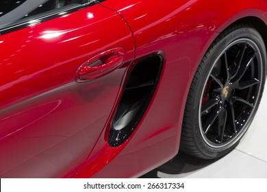 New York, NY - April 2, 2015: Exterior of Porsche Cayman GTS car on display at New York International Auto Show at Javits Center