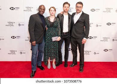 New York, NY - April 20, 2018: Cyrill Nri, Liv Hill, James Gardner, Tomos Eames attend premiere of Jellyfish during Tribeca Film Festival at Cinepolis Chelsea