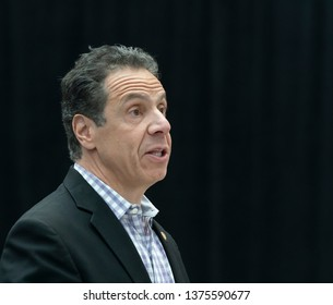 New York, NY - April 20, 2019: New York State Governor Andrew Cuomo speaks during grand opening of 2019 New York International Auto Show at Jacob Javits Center