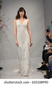 NEW YORK, NY - APRIL 20: A model walks the runway at the Theia show during New York Fashion Week: Bridal at the Theia Showroom on April 20, 2017 in New York City.
