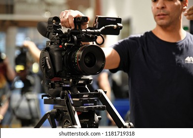 New York, NY; April 2018: New Canon C200s are set up on display