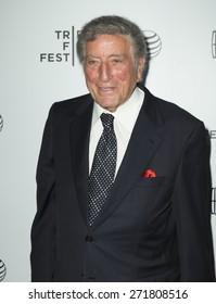 New York, NY - April 21, 2015: Tony Bennett attends Tribeca Film Festival screening of On The Town movie at Spring Studios