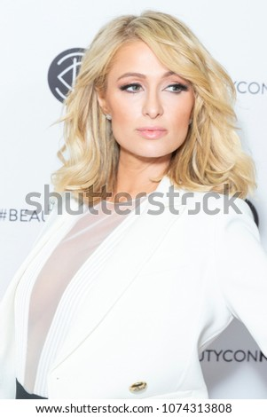 New York, NY - April 21, 2018: Paris Hilton attends Beautycon festival at Javits Jacob Center