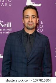 New York, NY - April 22, 2019: Lin-Manuel Miranda attends Eugene O'Neill Theater Center honors John Logan with 19th Annual Monte Cristo Award at Edison Ballroom