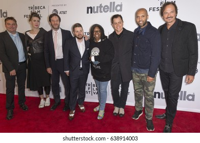 NEW YORK, NY - APRIL 22, 2017: (L-R) A McGilpin, A Delannoy, D Milkin, W Goldberg, B Oldenburg, L Fabian and V Voron attend Animated Shorts curated by Whoopi Goldberg during 2017 Tribeca Film Festival