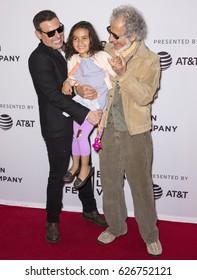 NEW YORK, NY - APRIL 23, 2017: (L-R) Antonino D'Ambrosio, Amara Lorien D'Ambrosio and Frank Serpico attend the 'Frank Serpico' Premiere during the 2017 Tribeca Film Festival at Cinepolis Chelsea