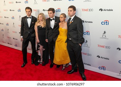 New York, NY - April 24, 2018: David Hogg, Jaclyn Corin, Cameron Kasky, Emma Gonzalez, Alex Wind attend 2018 Time 100 Gala at Jazz at Lincoln Center