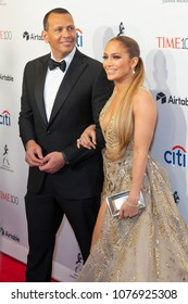 New York, NY - April 24, 2018: Alex Rodriguez and Jennifer Lopez attend 2018 Time 100 Gala at Jazz at Lincoln Center