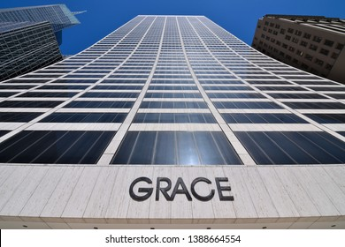 NEW YORK, NY - APRIL 24, 2019: The W. R. Grace Building in New York City on 42nd street is a Chemical Conglomerate Company.