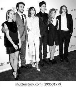 NEW YORK, NY - APRIL 24: (L-R) Emma Roberts, James Franco, Gia Coppola, Nat Wolff, Zoe Levin and Jack Kilmer attend the premiere of 'Palo Alto' during the 2014 Tribeca Film Festival at SVA Theater