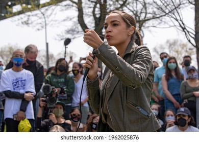 NEW YORK, NY - APRIL 24: Rep. Alexandria Ocasio-Cortez (D-NY) speaks at an Earth Day Celebration in Astoria Park on April 24, 2021 in the Astoria neighborhood of the Queens borough of New York City.