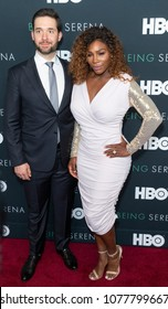 New York, NY - April 25, 2018: Alexis Ohanian and Serena Williams attend premiere HBO documentary Being Serena at Time Warner Center