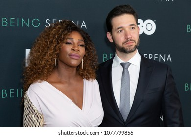 New York, NY - April 25, 2018: Serena Williams and Alexis Ohanian attend premiere HBO documentary Being Serena at Time Warner Center