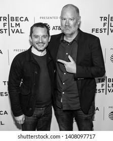 "New York, NY - April 25, 2019: Elijah Wood and director Ant Timpson attend the ""Come To Daddy"" screening at the 2019 Tribeca Film Festival at SVA Theater"