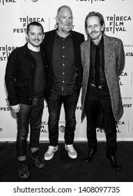"New York, NY - April 25, 2019: Elijah Wood, director Ant Timpson and Stephen McHattie attend the ""Come To Daddy"" screening at the 2019 Tribeca Film Festival at SVA Theater"