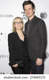 NEW YORK, NY - APRIL 25: Actress Rachael Harris and musician Christian Hebel attend the closing night screening of 'Goodfellas' during the 2015 Tribeca Film Festival at Beacon Theatre