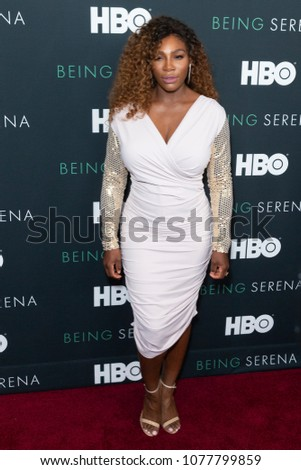 New York, NY - April 25, 2018: Serena Williams attends premiere HBO documentary Being Serena at Time Warner Centera