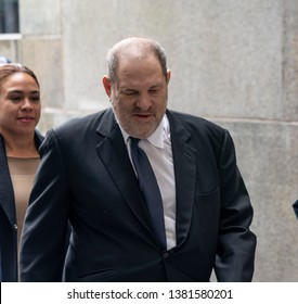 New York, NY - April 26, 2019: Disgraced Hollywood producer Harvey Weinstein arrives for pre-trial hearing over sexual assault charges at New York state supreme criminal court
