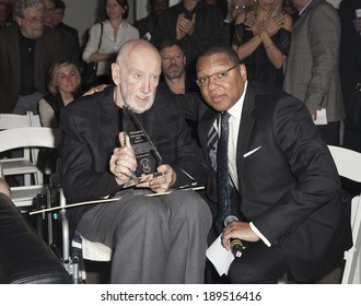NEW YORK, NY - APRIL 26, 2014: Wynston Marsalis presents life time achievement award to Bruce Lundvall at 23rd annual Jazz loft party for Jazz Foundation of America at Hudson Studios