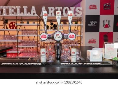 New York, NY - April 27, 2019: Stella Artois beer open bar at world premiere of The Kill Team during Tribeca Film Festival at Stella Artois Theatre at BMCC TRAC