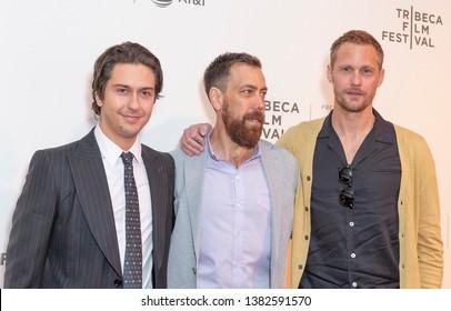 New York, NY - April 27, 2019: Nat Wolff, Dan Krauss and Alexander Skarsgard attend world premiere of The Kill Team during Tribeca Film Festival at Stella Artois Theatre at BMCC TRAC