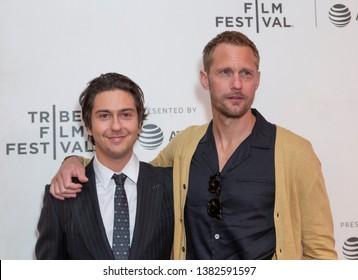 New York, NY - April 27, 2019: Nat Wolff and Alexander Skarsgard attend world premiere of The Kill Team during Tribeca Film Festival at Stella Artois Theatre at BMCC TRAC