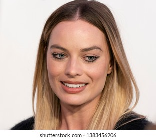 New York, NY - April 28, 2019: Margot Robbie wearing dress by Chanel attends World premiere of movie Dreamland at Stella Artois Theatre at BMCC TRAC