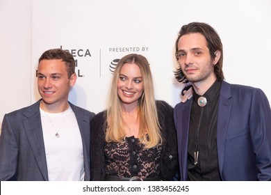 New York, NY - April 28, 2019: Finn Cole, Margot Robbie, Miles Joris-Peyrafitte attend World premiere of movie Dreamland at Stella Artois Theatre at BMCC TRAC