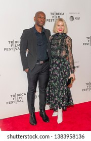 New York, NY - April 28, 2019: Julius Onah and Naomi Watts wearing dress by Valentino attend premiere of movie Luce during 2019 Tribeca Film Festival at Stella Artois Theatre at BMCC TRAC