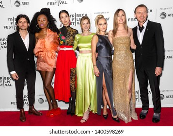 "New York, NY - April 28, 2019: Jacob Loeb, Nana Ghana, Tao Okamoto, Daisy Bishop, Juno Temple, Katharine O'Brien and Simon Pegg attend the ""Lost Transmissions"" screening"