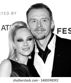 "New York, NY - April 28, 2019: Juno Temple and Simon Pegg attend the ""Lost Transmissions"" screening during the 2019 Tribeca Film Festival at SVA Theater"