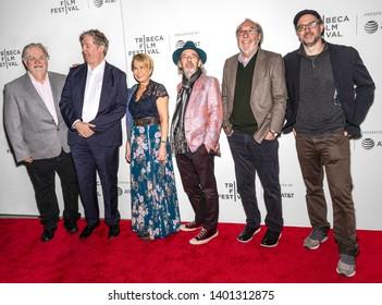 "New York, NY - April 28, 2019: Matt Groening, Al Jean, Yeardley Smith, Harry Shearer, James L Brooks and Matt Selman attend ""The Simpsons"" 30th Anniversary celebration"