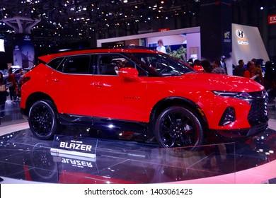 New York, NY - April 28 2019: Chevrolet Blazer at the New York Auto Show