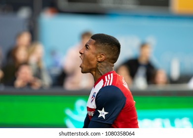New York, NY - April 29, 2018: Santiago Mosquera (11) of Dallas FC celebrate scoring goal during MLS regular game against NYC FC on Yankee stadium NYCFC won 3 - 1
