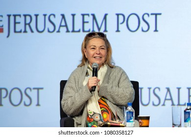 New York, NY - April 29, 2018: Roseanne Barr interviewed by Dana Weiss during 7th Annual Jerusalem Post Conference at Marriott Marquis Hotel