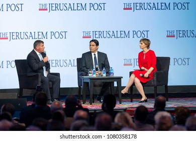 New York, NY - April 29, 2018: General Gabi Ashkenazi and Ambassador Danny Danon interviewed by Dana Weiss during 7th Annual Jerusalem Post Conference at Marriott Marquis Hotel