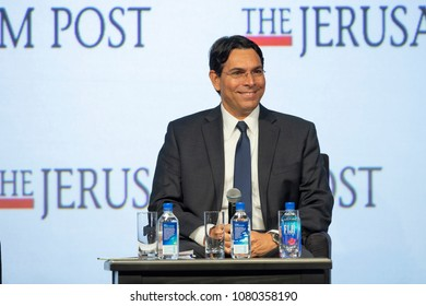 New York, NY - April 29, 2018: Ambassador Danny Danon interviewed by Dana Weiss during 7th Annual Jerusalem Post Conference at Marriott Marquis Hotel