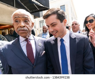 New York, NY - April 29, 2019: South Bend, IN Mayor Pete Buttigieg hopeful for Democratic Party Presidential nomination attends lunch with Reverend Al Sharpton at Sylvia's Restaurant in Harlem