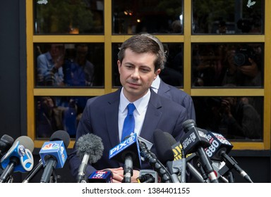 New York, NY - April 29, 2019: Mayor Pete Buttigieg hopeful for Democratic Party Presidential nomination speaks to press after attend lunch with Reverend Al Sharpton at Sylvia's Restaurant in Harlem
