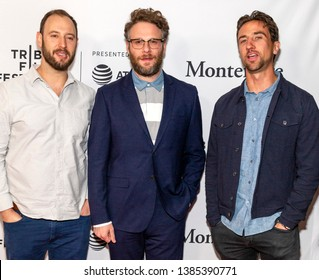 "New York, NY - April 29, 2019: Evan Goldberg, Seth Rogen and Antony Starr attend the ""The Boys"" screening during the 2019 Tribeca Film Festival at SVA Theater"