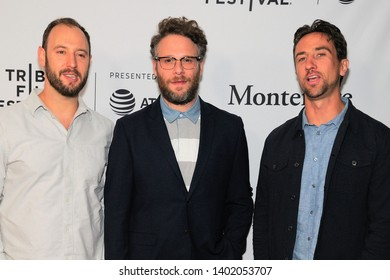 "NEW YORK, NY - APRIL 29: Evan Goldberg, Seth Rogen and Antony Starr attend ""Tribeca TV: The Boys"" during the 2019 Tribeca Film Festival at SVA Theater on April 29, 2019 in New York City."
