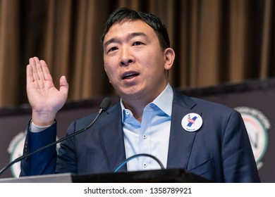New York, NY - April 3, 2019: Democratic Presidential candidate Andrew Yang speaks during National Action Network 2019 convention at Sheraton Times Square.