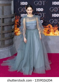 New York, NY - April 3, 2019: Emilia Clarke attends HBO Game of Thrones final season premiere at Radion City Music Hall