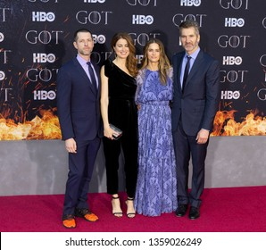 New York, NY - April 3, 2019: D.B. Weiss, Andrea Troyer, Amanda Peet and David Benioff attend HBO Game of Thrones final season premiere at Radion City Music Hall