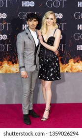 New York, NY - April 3, 2019: Joe Jonas and Sophie Turner attend HBO Game of Thrones final season premiere at Radion City Music Hall